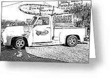 Black And White Sketch Truck Greeting Card