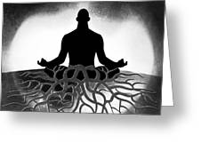 Black And White Spiritual Grounding Greeting Card