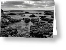 Black And White Sunset At Low Tide Greeting Card
