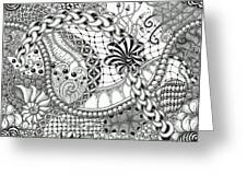 Black And White Tangle Art Greeting Card