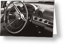 Black And White Thunderbird Steering Wheel And Dash Greeting Card