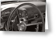 Black And White Thunderbird Steering Wheel  Greeting Card