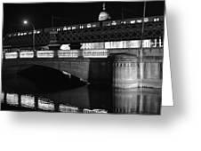 Black And White Train Greeting Card