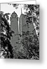 black and white Water Tower Greeting Card