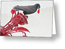 Black Bird Red Silicate Glass Flowers Gray Background 2 8282017  Greeting Card