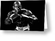 Black Boxer In Black And White 07 Greeting Card by Val Black Russian Tourchin