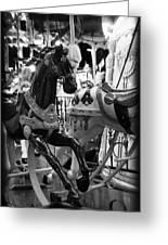 Black Carousel Horse Greeting Card