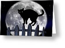 Black Cat And Full Moon 3 Greeting Card