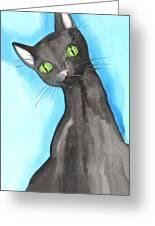 Black Cat Magic Greeting Card