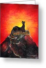 Black Cat. Mistress Of Diamond Mountain Greeting Card