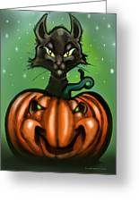 Black Cat N Pumpkin Greeting Card