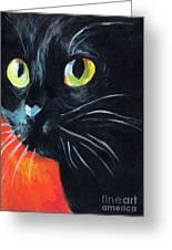 Black Cat Painting Portrait Greeting Card