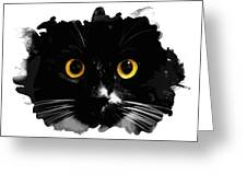 Black Cat, Yellow Eyes Greeting Card