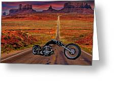 Black Chopper At Monument Valley Greeting Card
