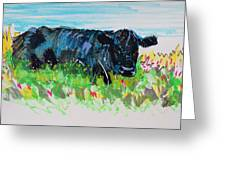 Black Cow Lying Down Painting Greeting Card