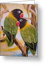 Black Faced Love Birds.  Chloe The Flying Lamb Productions  Greeting Card