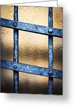Black Forged Iron Grating With Rivets Greeting Card
