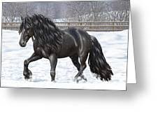 Black Friesian Horse In Snow Greeting Card