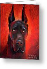 Black Great Dane Dog Painting Greeting Card