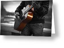 Black Guitar Greeting Card