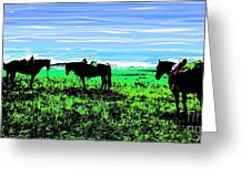 Black Horses ... Montana Art Photo Greeting Card