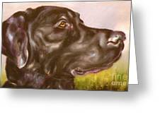 Black Lab In The Field Greeting Card