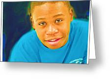 Young Black Male Teen 5 Greeting Card