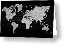 Black Metal Industrial World Map Greeting Card
