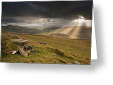 Black Mountains Light Rays Greeting Card