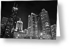 Black Night In The Windy City Greeting Card