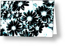 Black Petals With Sprinkles Of Teal Turquoise Greeting Card