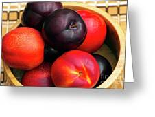 Black Plums And Nectarines In A Wooden Bowl Greeting Card