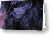Black Poodle - Square Greeting Card