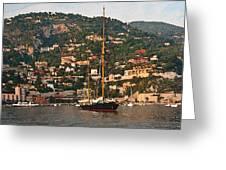 Black Sailboat At Villefranche II Greeting Card