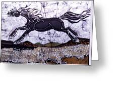 Black Stallion Gallops Over Stones Greeting Card