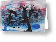 Black Tree Greeting Card