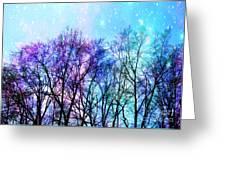 Black Trees Bright Pastel Space Greeting Card
