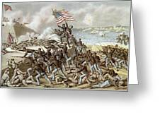 Black Troops Of The Fifty Fourth Massachusetts Regiment During The Assault Of Fort Wagner Greeting Card