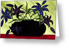 Black Vase With Lilies Greeting Card