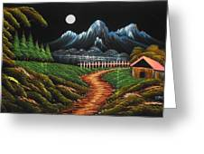 Night View With Full Moon Greeting Card