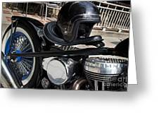 Black Vintage Style Motorcycle With Chrome And Black Helmet Greeting Card