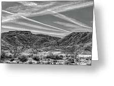 Black White Chem Trails Sky Overton Nevada  Greeting Card