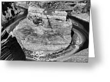 Black White Horseshoe Bend Arizona  Greeting Card