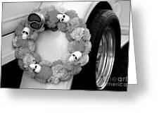 Black White Skulls Classic Car  Greeting Card