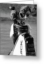 Black White Tiger Woods Bag Clubs  Greeting Card