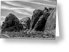 Black White Valley Of Fire  Greeting Card