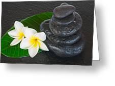 Black Zen Stones Greeting Card