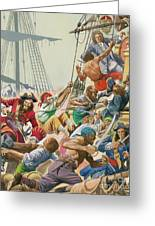 Blackbeard And His Pirates Attack Greeting Card