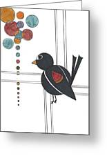 Blackbird With Circles Greeting Card