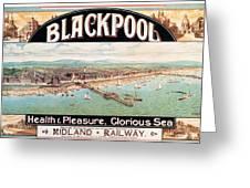 Blackpool, England - Retro Travel Advertising Poster - Seaside Resort - Vintage Poster Greeting Card